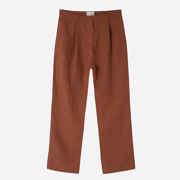 Cropped Linen Trousers, Redwood - Homeware Store