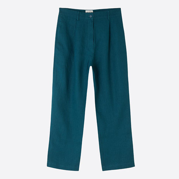 Cropped Linen Trousers, Dark Turquoise - Closet & Botts
