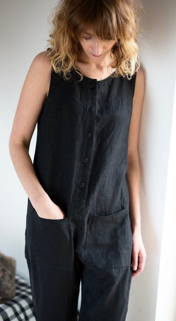 Linen Jumpsuit with Buttons - Closet & Botts