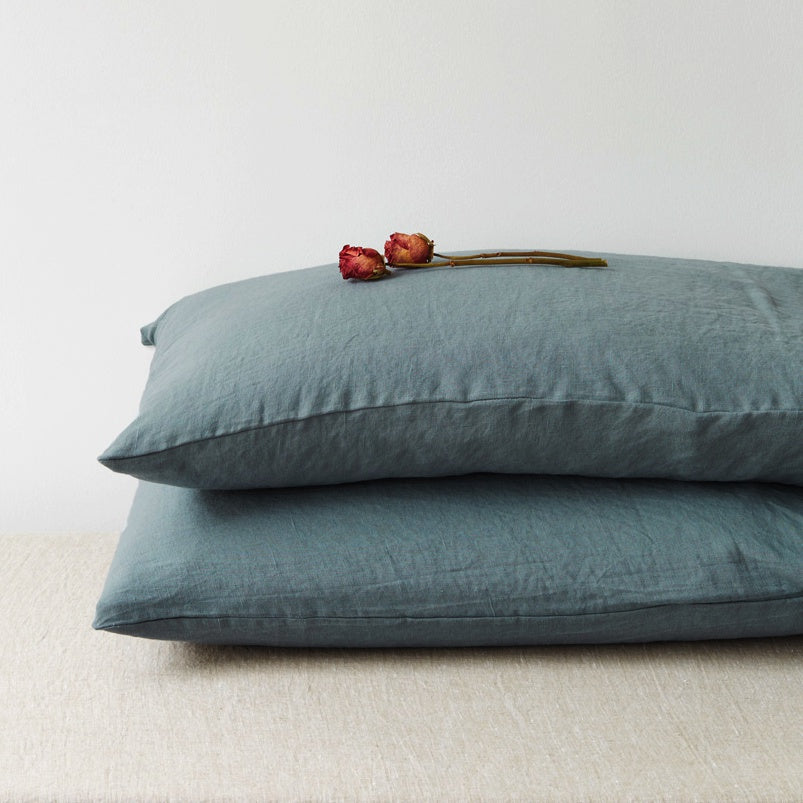 Washed Linen Pillow Case, Dusty Blue