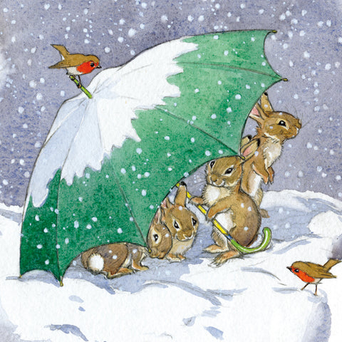 Christmas Card Pack - Rabbits Sheltering