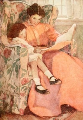 'Reading with Mother' Greeting card