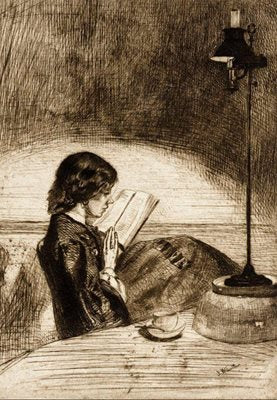 'Reading by Lamplight' Greeting Card