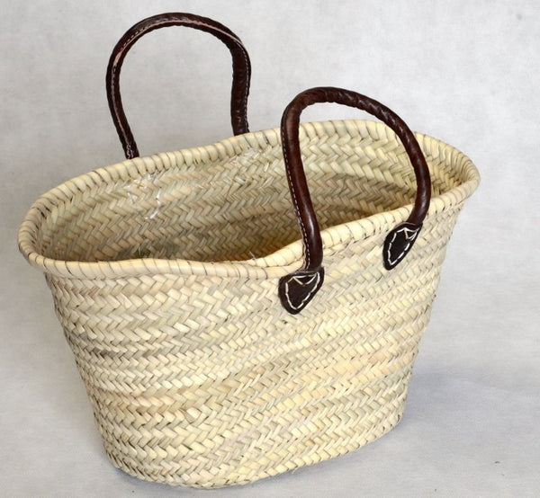 Small Shopping Basket, dark leather handles