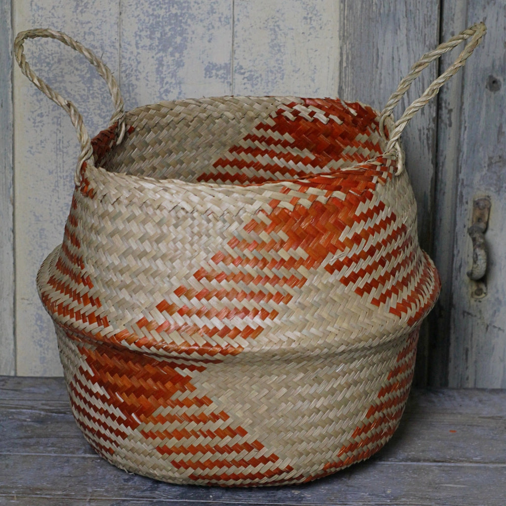 Seagrass Basket - Terracotta Check - Homeware Store