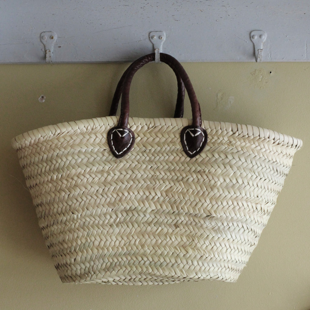 Small Shopping Basket, Dark Leather Handles - closetandbotts
