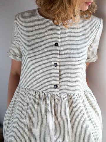 Short Sleeved Linen dress, Striped