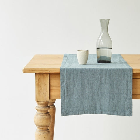 Washed Linen Table Runner, Dusty Blue