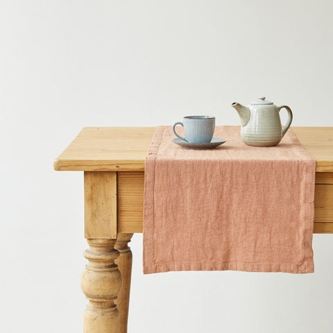 Washed Linen Table Runner, Terracotta