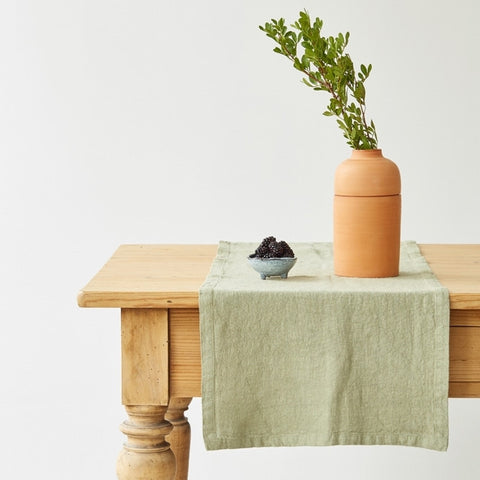 Washed Linen Table Runner, Sage