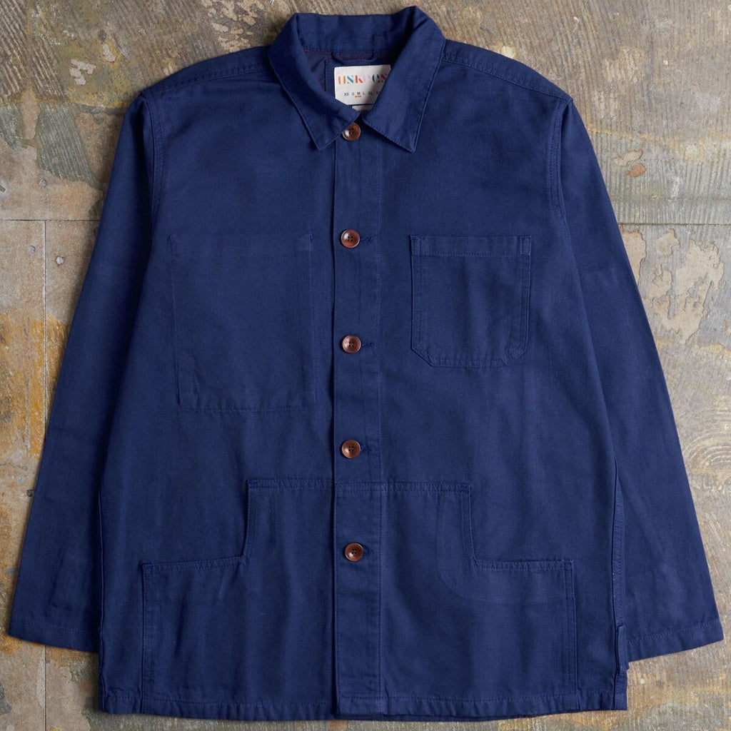 Workwear Buttoned Jacket, Navy - closetandbotts