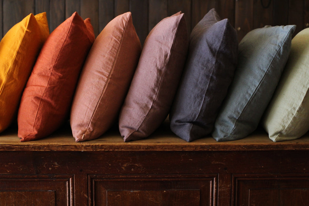 Washed Linen Cushion, Rust - closetandbotts