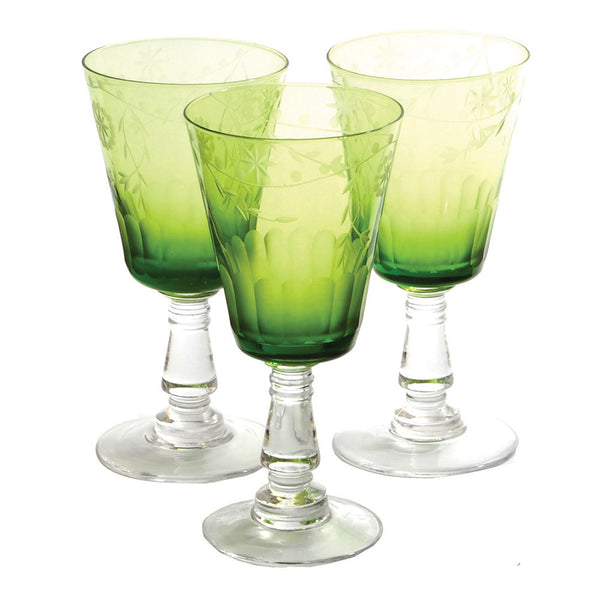 Etched wine glass, green
