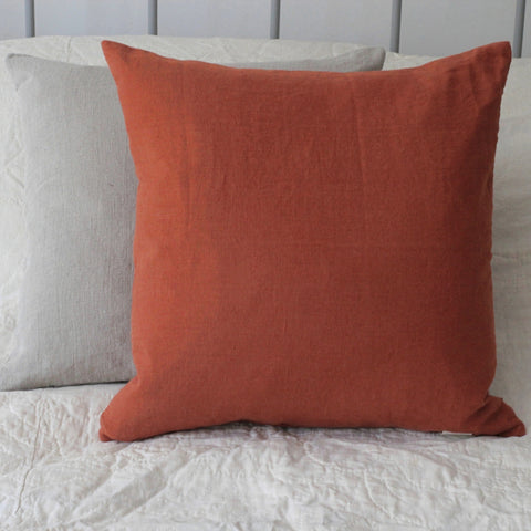 Washed Linen Cushion, Rust