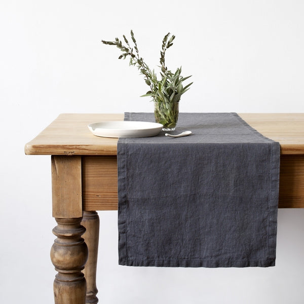 Washed Linen Table Runner, Charcoal Grey