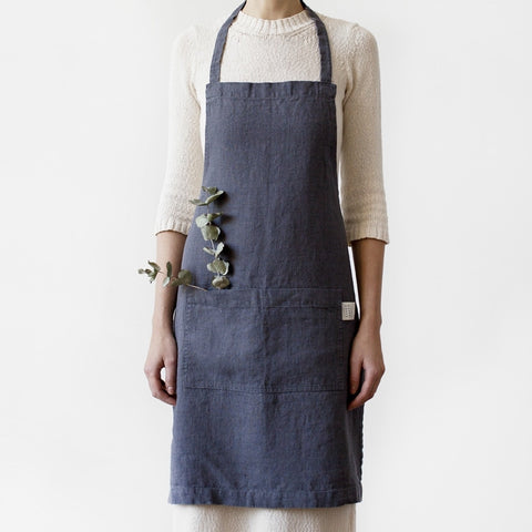 Washed Linen Apron, Charcoal Grey