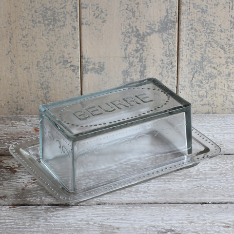 Glass butter dish ' beurre'