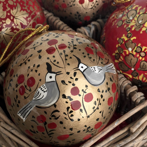 Hand painted Christmas bauble, red and gold bird