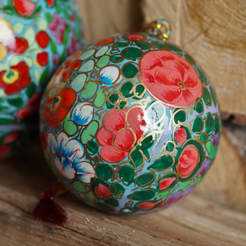 Hand Painted Christmas Bauble, pink and turquoise floral