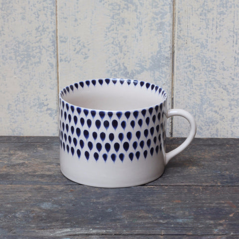 Handmade coffee cup, indigo drop