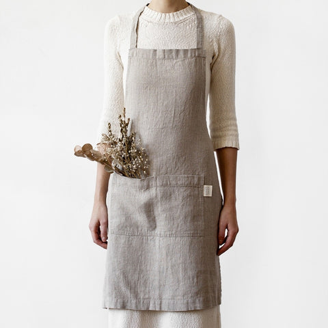 Washed Linen Apron, Natural Linen