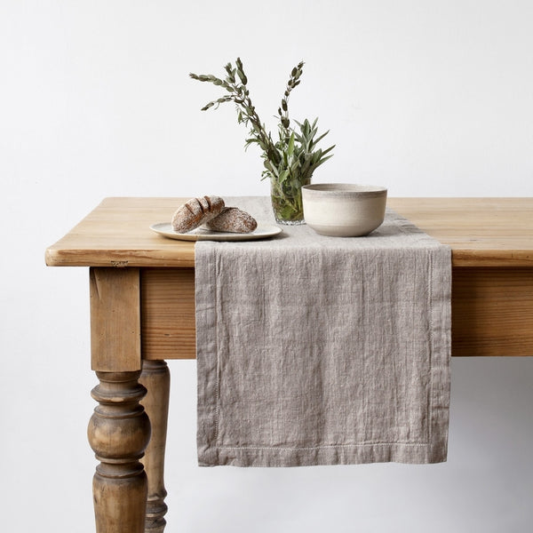 Washed Linen Table Runner, Natural Linen