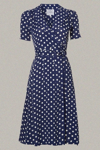 Peggy Dress, Navy Spot Print