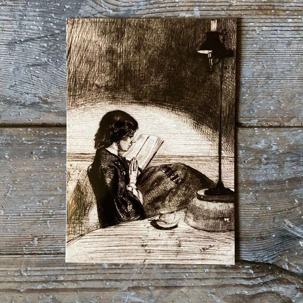 'Reading by Lamplight' Greeting Card - Closet & Botts
