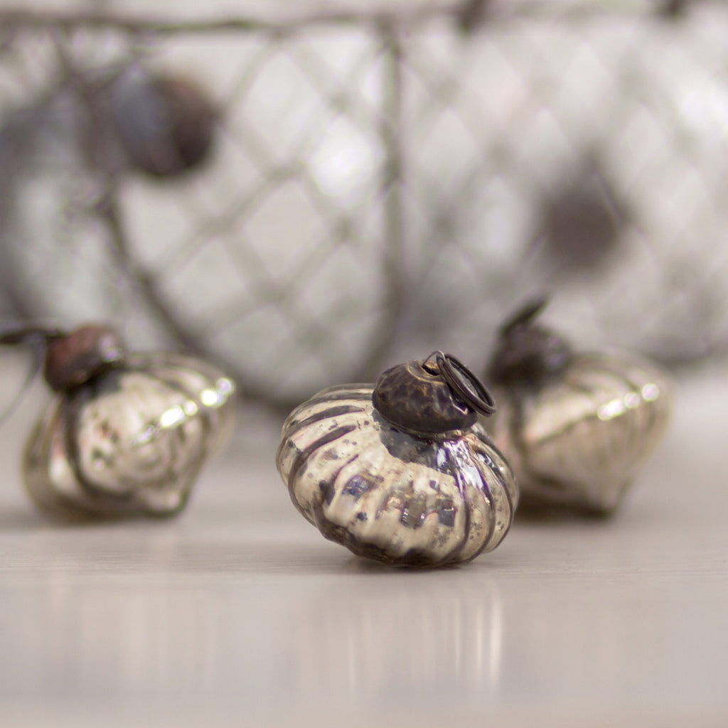 Hand Blown Glass bauble Christmas decoration, silver