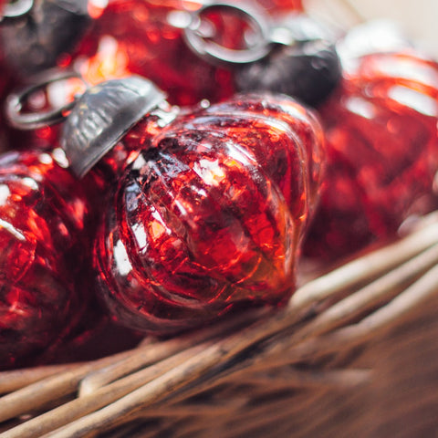 Hand blown glass bauble decoration, red glass
