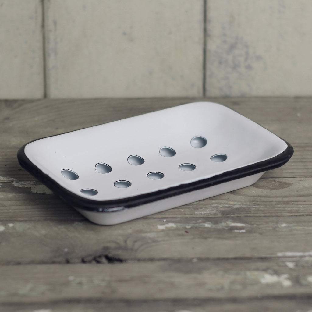 Enamel Soap Dish, White