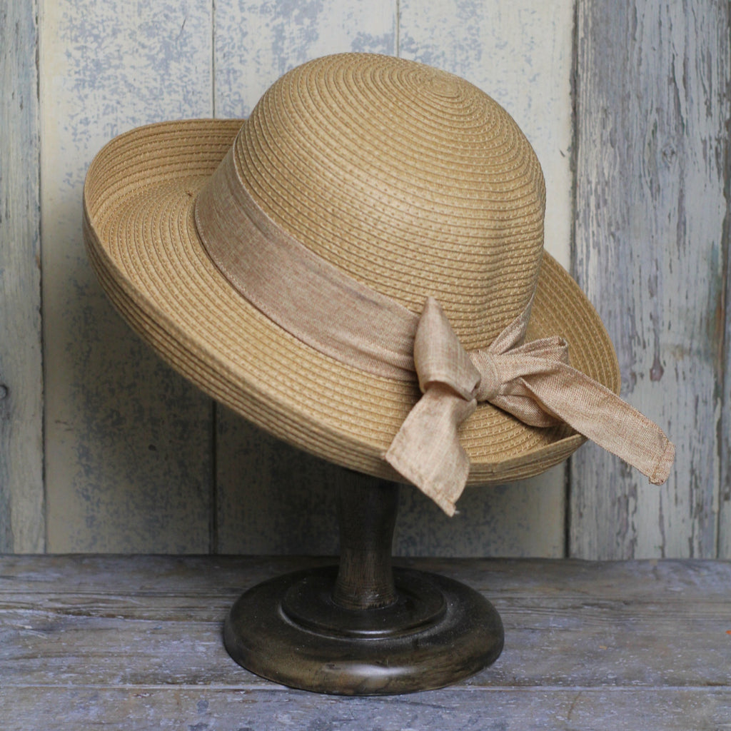 Sun Hat - Camel with Bow | Womens Fashion