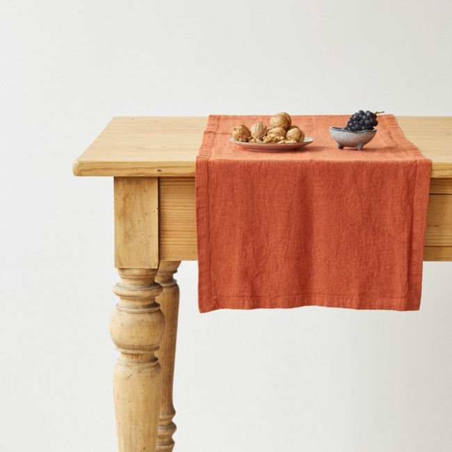 Washed Linen Table Runner, Rust - Closet & Botts