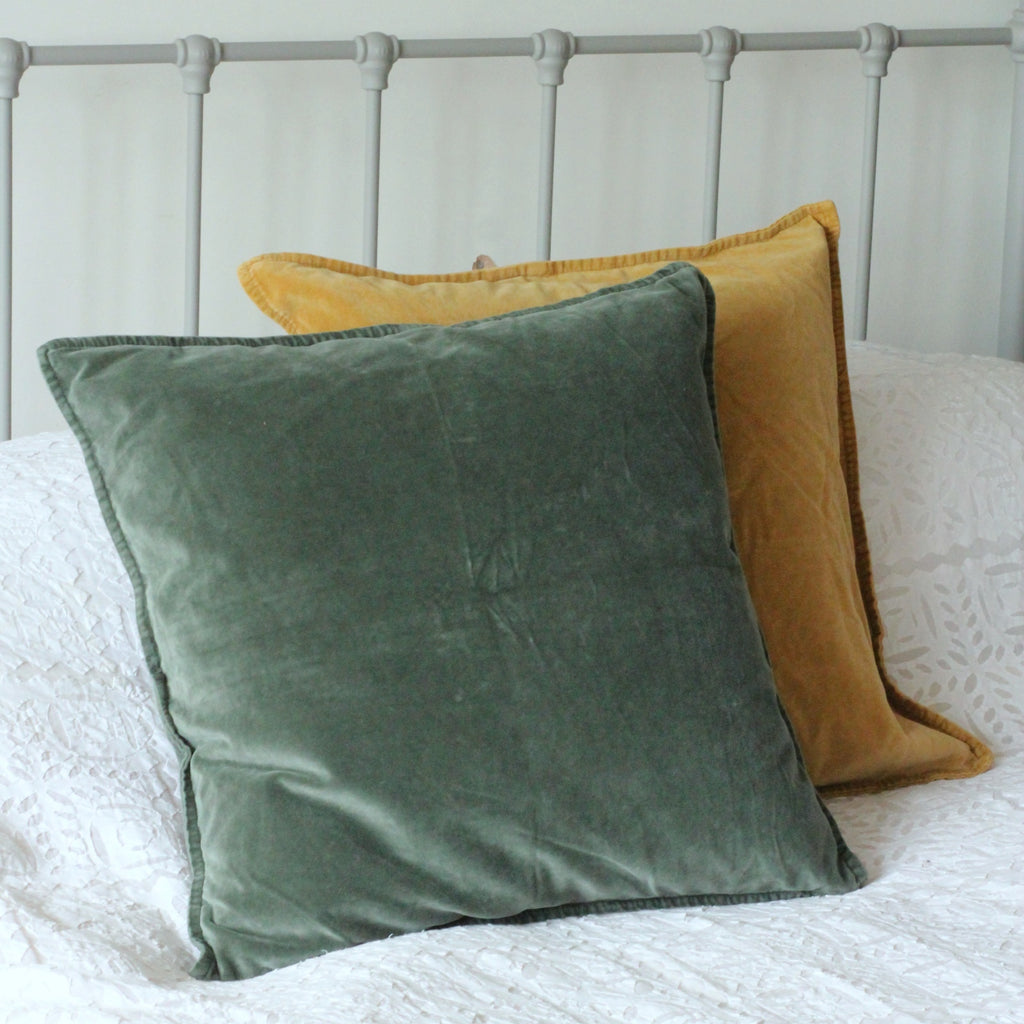 velvet cushion - dark sage