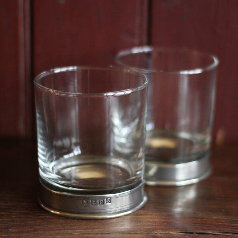Classic whisky glass with a pewter base. Gifts for him
