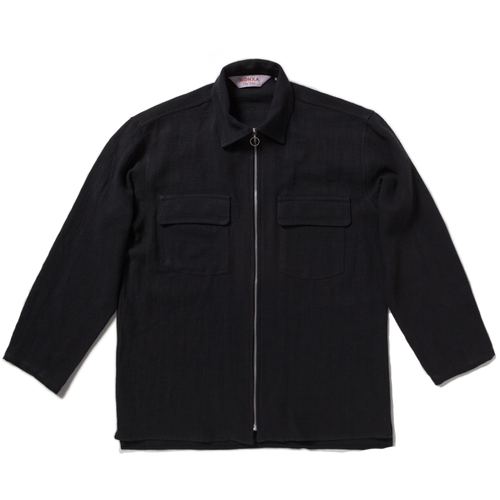 zip overshirt / black