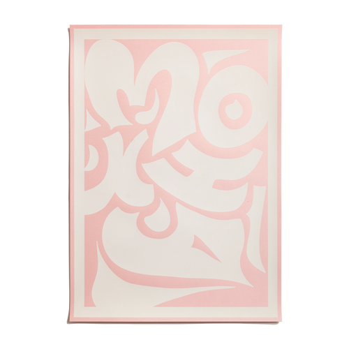 tribal poster white on pink