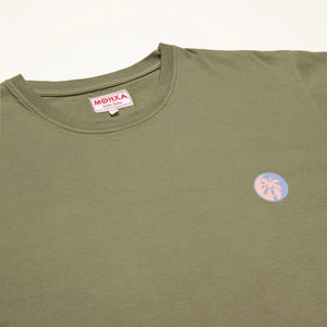 yin palm olive green tee