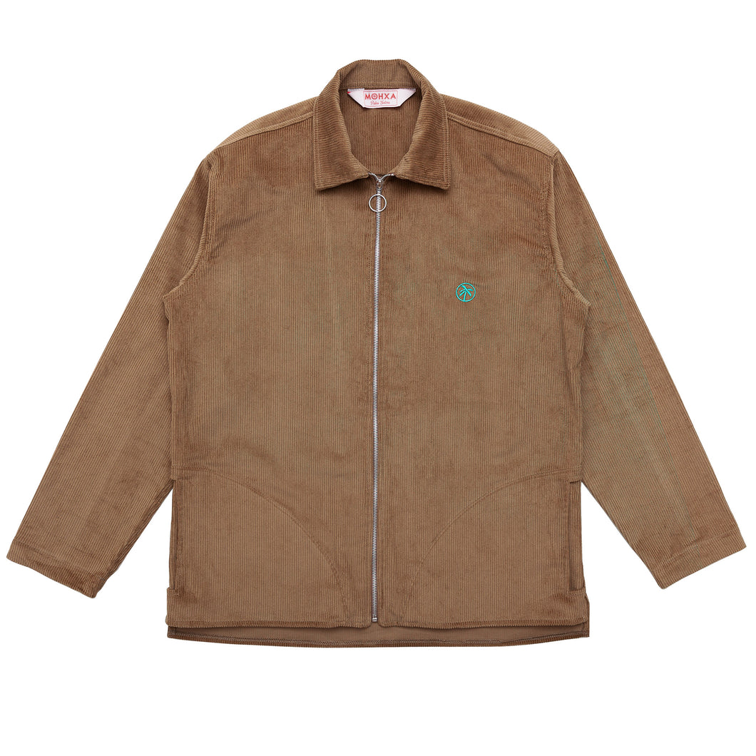 oily corduroy zip overshirt