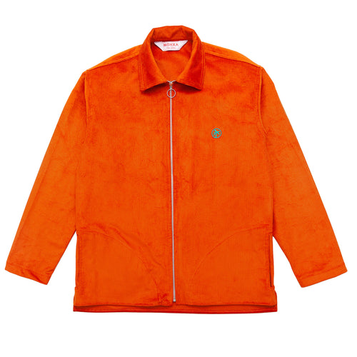 orange corduroy zip overshirt