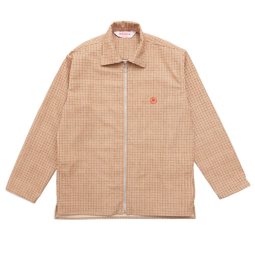 plaid corduroy zip overshirt