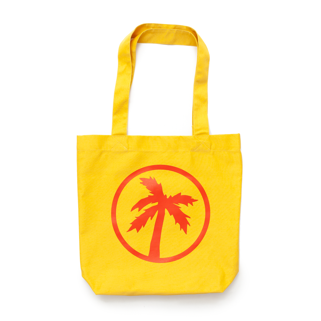 logo yellow tote bag