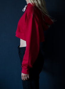 Red cropped icecap hoodie