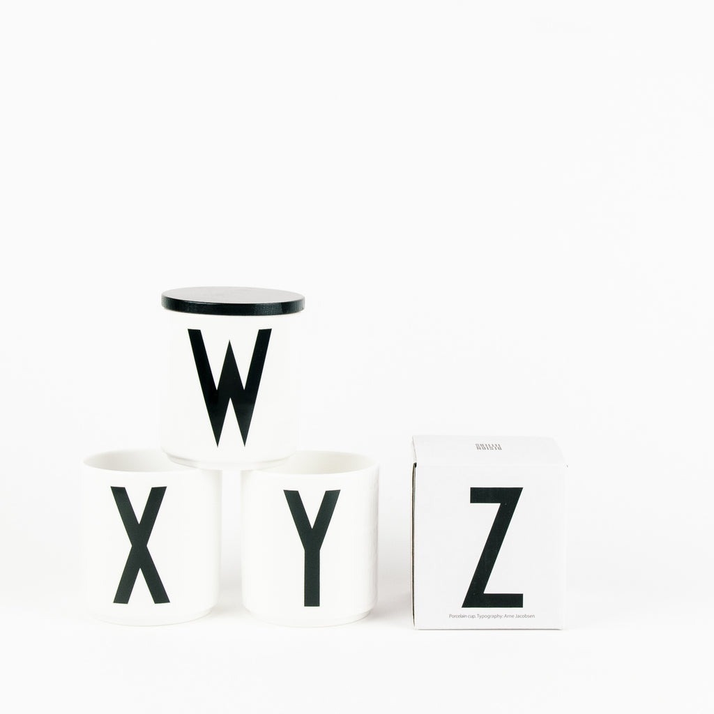 Design Letter Porcelain Cup White (A to Z)