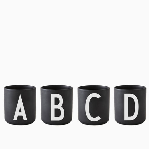 Design Letter Porcelain Cup Black (A to Z)