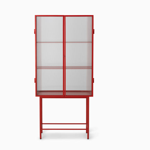 Ferm Living Haze Vitrine Reeded Glass - Poppy Red