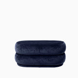 Ferm Living Pouf Oval Faded Velvet Ocean