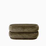 Ferm Living Pouf Oval Faded Velvet Forest