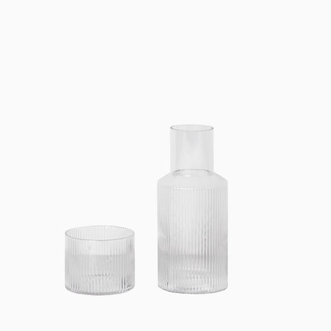 Ferm Living Ripple Carafe Set Clear