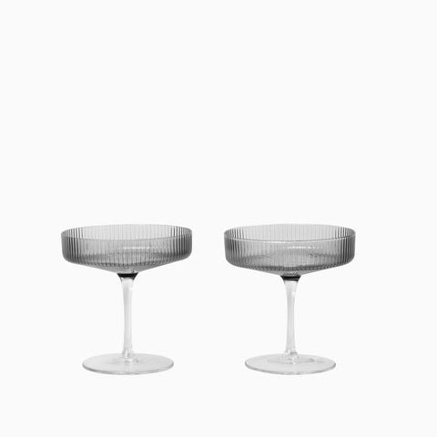 Ferm Living Ripple Champagne Saucer Smoked Grey (Set of 2)